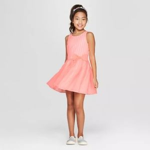 Cat & Jack Girls XL 14/16 Coral Dress with Bow